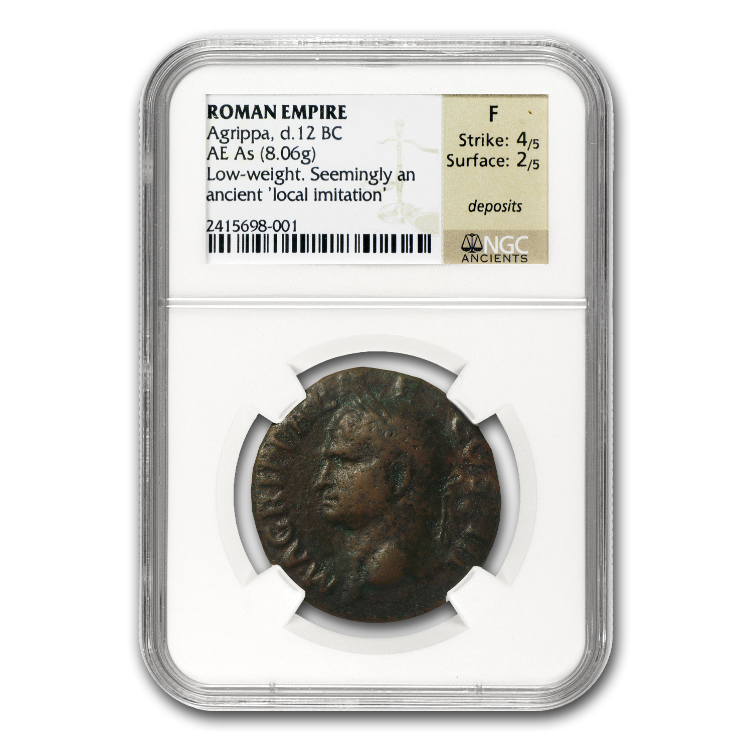 Roman Copper As Agrippa Fine NGC